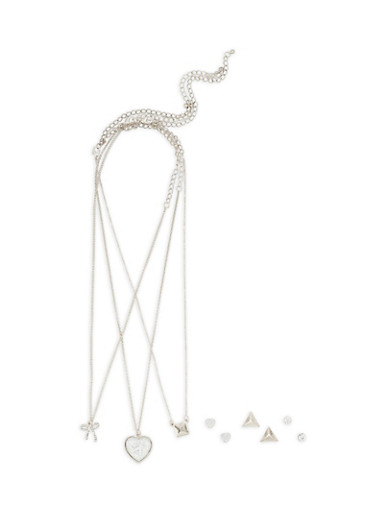 Layered Charm Necklace with Stud Earring Set,SILVER,large