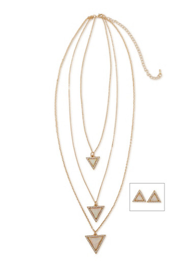 Marbled Triangle Rhinestone Layered Necklace with Earrings,IVORY,large