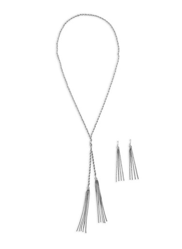 Metallic Rope Tassel Necklace and Earrings,SILVER,large