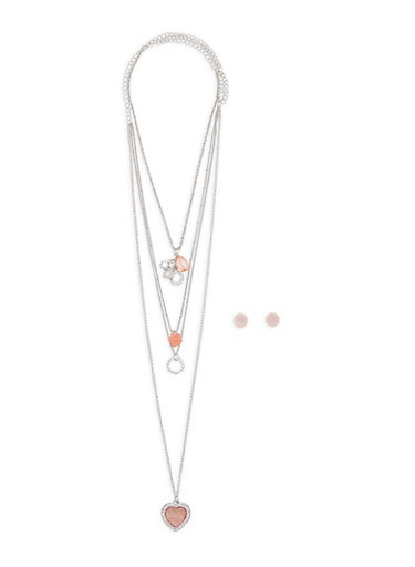 Layered Pendant Necklace with Stud Earrings,SILVER,large