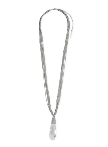 Layered Chain Necklace with Crystal Tear Drop Pendant,SILVER,large