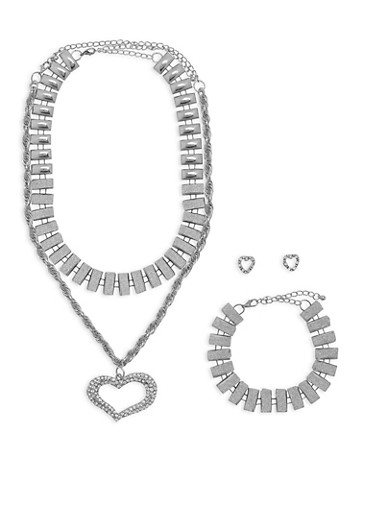 Glitter and Rhinestone Necklaces with Bracelet and Stud Earrings,SILVER,large