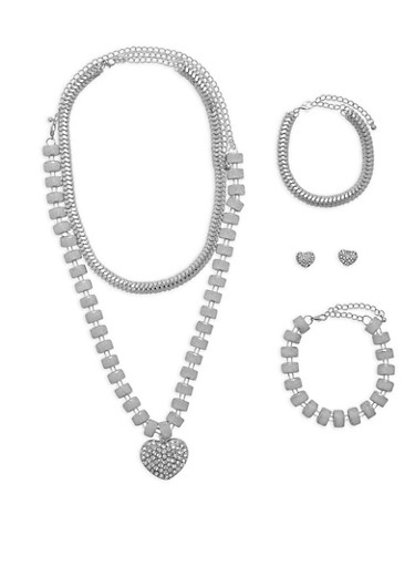 Glitter Rhinestone Necklaces with Bracelets and Earrings,SILVER,large