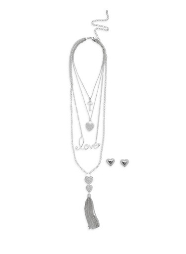 Layered Love Heart Tassel Necklace with Stud Earrings,SILVER,large