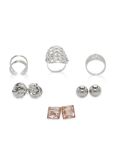Stud Earrings and Ring Trio,SILVER,large