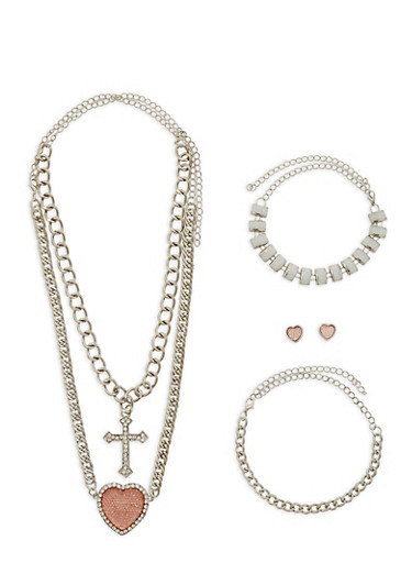 Chunky Charm Necklace with Bracelets and Stud Earrings,SILVER,large