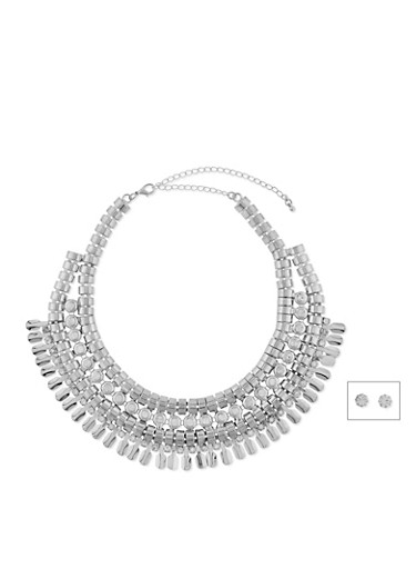Multi Layered Rhinestone Faceted Collar Necklace with Earrings,SILVER,large
