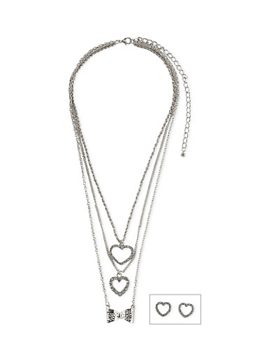 Layered Necklace with Stud Heart Earrings,SILVER,large