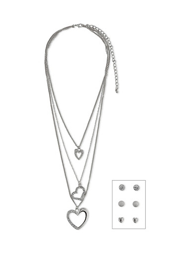 3 Layer Heart Charm Necklace with Stud Earrings,SILVER,large