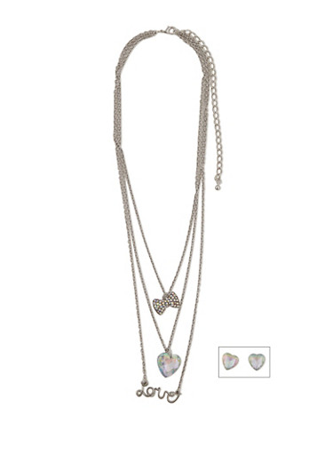 Multi Layered Charm Necklace with Stud Earrings,SILVER,large
