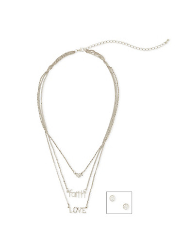 3 Layer Faith Love Necklace with Earring Set,SILVER,large