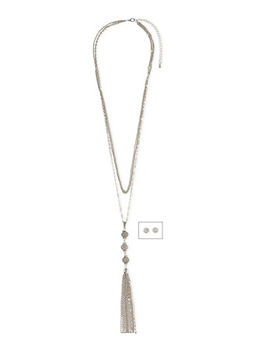3 Layer Necklace with Rhinestone Ball Tassel Pendant and Stud Earrings,SILVER,large