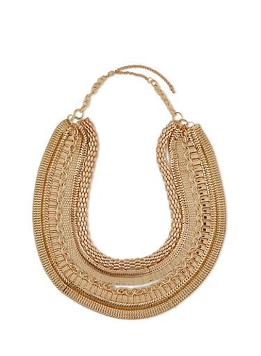 7 Layer Multi Chain Bib Necklace,GOLD,large