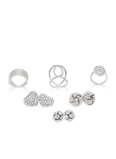 Rhinestone Stud Earrings and Ring Trio,SILVER,large