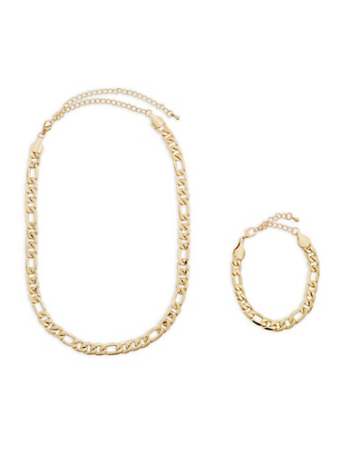 Chunky Figaro Link Necklace and Bracelet Set,GOLD,large