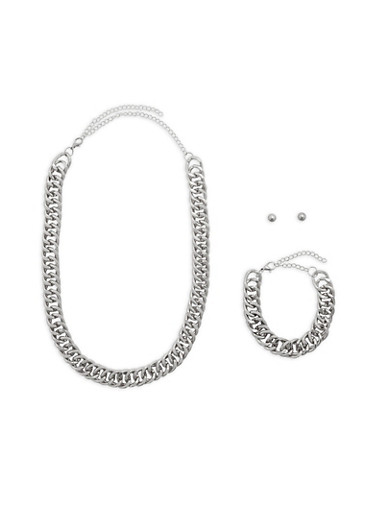 Large Chain Necklace with Bracelet and Stud Earrings,SILVER,large