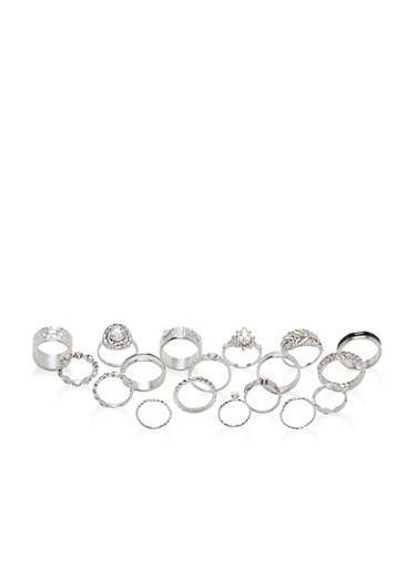 Assorted Glitter Rhinestone Ring Set,SILVER,large