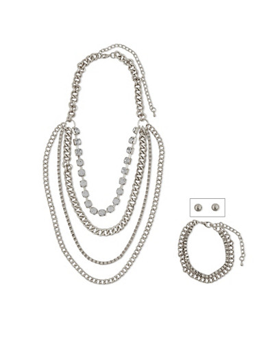 Tiered 4 Layer Rhinestone Chain Necklace with Earring Set,SILVER,large