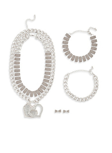 Glitter Necklaces with Bracelets and Earrings,SILVER,large