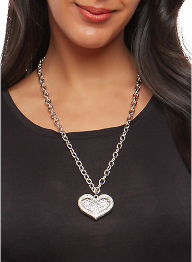 Rhinestone Heart Necklace with Stud Earrings,SILVER,large