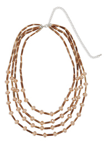 Wooden Beaded Multi Layer Necklace,TAN,large