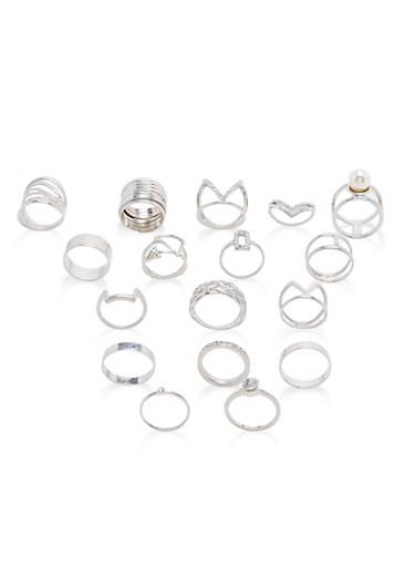 Assorted Rhinestone Rings Set,SILVER,large