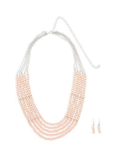Multi Layer Beaded Necklace with Matching Earrings,SILVER,large