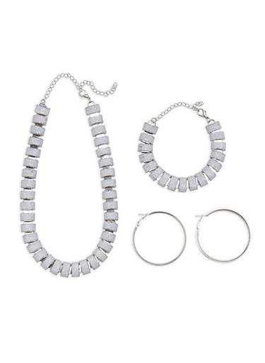 Glitter Necklace Bracelet and Hoop Earrings,SILVER,large
