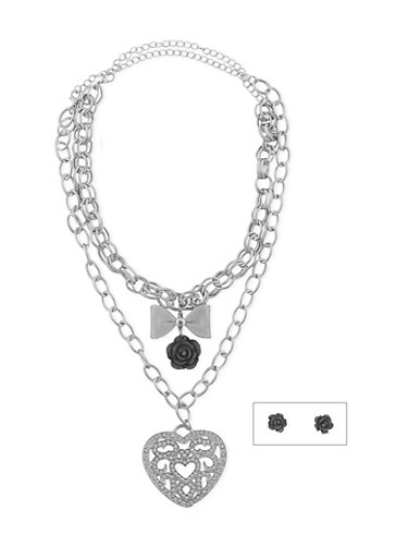 Rose Heart 2 Piece Charm Necklace with Stud Earrings,SILVER,large