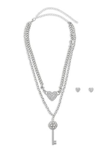 Rhinestone Heart and Key Necklace with Stud Earrings,SILVER,large