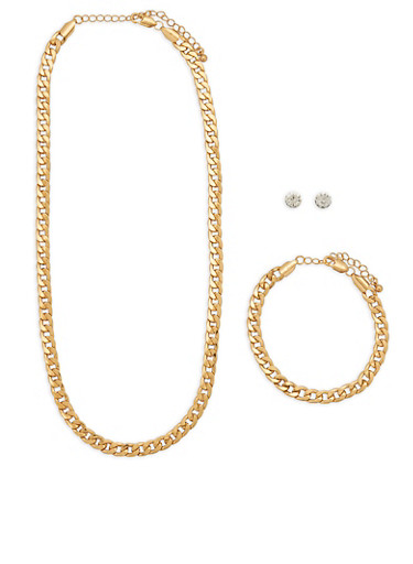 Curb Chain Necklace Bracelet and Stud Earrings Set,GOLD,large