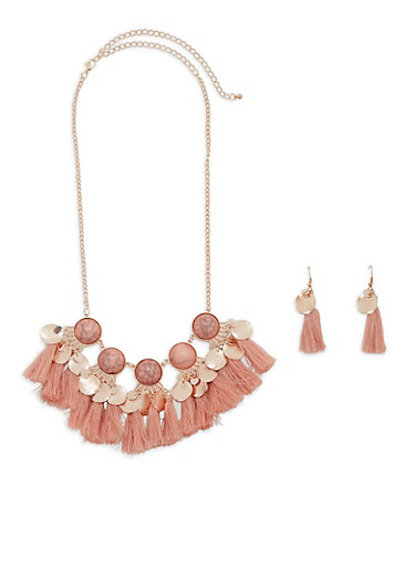 Tassel Disc Necklace and Earrings,BLUSH,large
