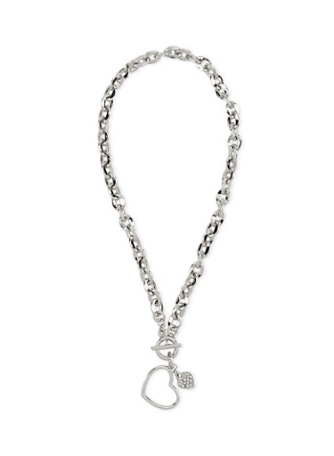 Heart Cable Chain Collar Necklace with Toggle Closure,SILVER,large