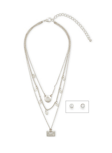 Layered Mini Charm Necklace with Stud Earrings,SILVER,large