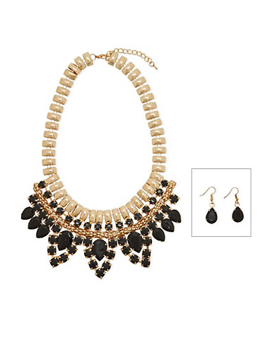 Chunky Jeweled Bib Necklace and Earring Set,GOLD,large