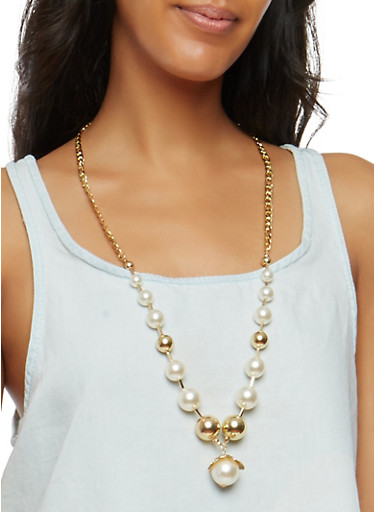Long Faux Pearl Chain Necklace and Stud Earrings,IVORY,large
