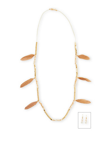 Square Bead Feather Necklace With Drop Earrings Set,TAN,large