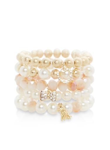 Set of Faux Pearl Stretch Charm Bracelets,IVORY,large