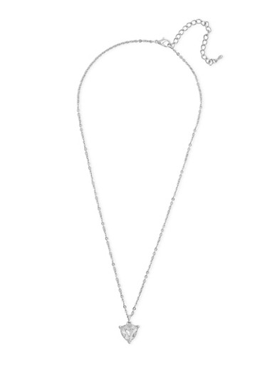 Triangle Rhinestone Charm Necklace,SILVER,large