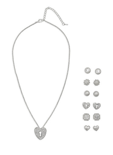 Rhinestone Lock Necklace and Stud Earrings,SILVER,large