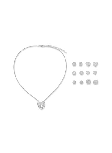 Rhinestone Charm Necklace with Assorted Stud Earrings,SILVER,large