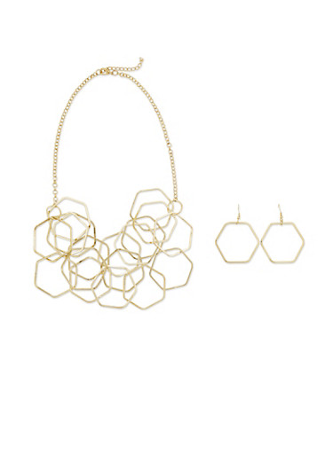 Geometric Layered Necklace Set with Earrings,GOLD,large