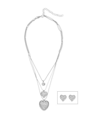 Layered Rhinestone Heart Necklace with Heart Stud Earrings,SILVER,large