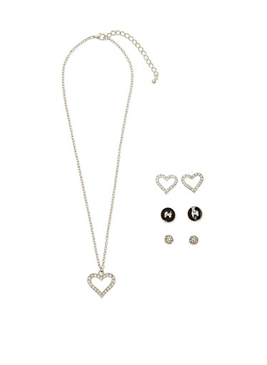 Set Of Three Earrings and Heart Pendant Necklace,SILVER,large