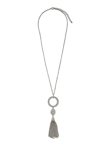 Rhinestone Pendant and Tassel Charm Necklace,SILVER,large