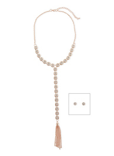 Rhinestone Y Necklace with Metal Tassel Charm and Stud Earrings,ROSE,large