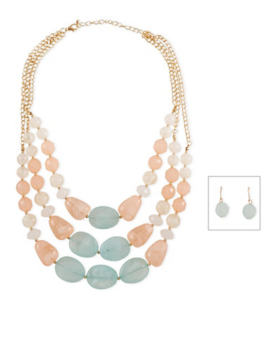 Tiered Glass Bead Necklace and Earring Set,MINT,large