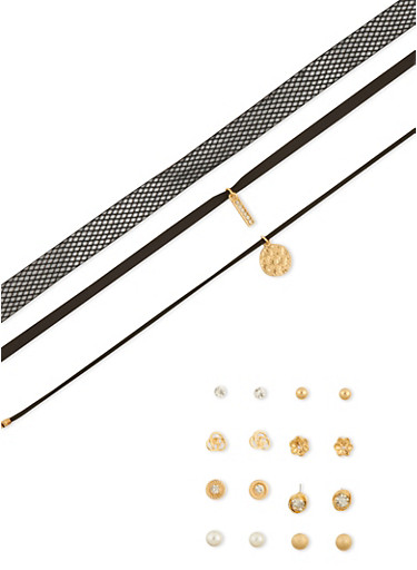 Assorted Choker Trio and 6 Stud Earrings Set,SILVER,large