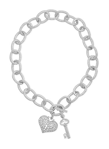 Chainlink Rhinestone Heart Key Charm Necklace with Toggle Closure,SILVER,large