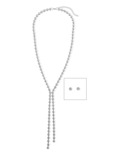 Double Y Rhinestone Necklace with Stud Earrings,SILVER,large